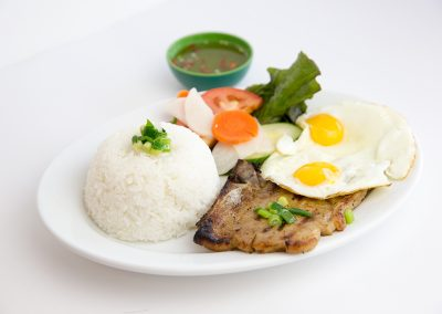 Grilled pork chop fried egg with steamed rice