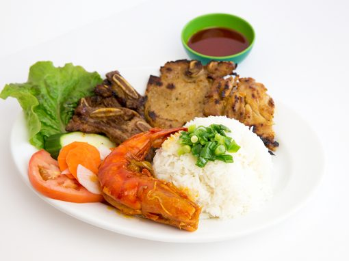 Sauteed jumbo shrimp grilled pork chop beef and chicken steamed rice