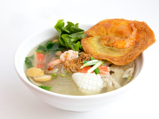 MyTho style seafood and BBQ pork in clear noodle soup